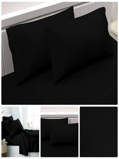 Amazon.com: Cotton Non-Zippered Pillow Cases (Queen/Standard, Black) - 20 by 30 Inches Pillow Cover - Pillow Protector in Pack of 2 - Anti-Microbial Pillow Encasement by Story@Home Bedding: Home & Kitchen