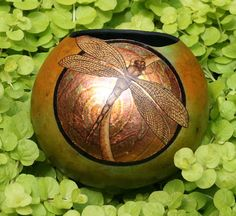 Dragonfly and Gold Leaf gourd mini bowl by JRAGourdArt on Etsy
