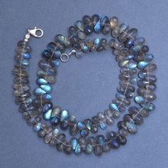 Natural Labradorite Flash Shimmer Faceted Long Pear Briolette Beads Pair 8x24mm