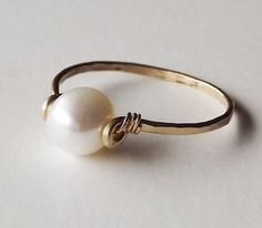 Freshwater Pearl Hammered Gold Filled Ring - Pearl Ring - Gold Ring - Stacking Ring