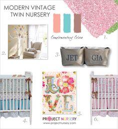 Modern Vintage Nursery Twin Nursery Design Board #twins #designboard #nursery