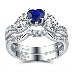 925 Sterling Silver Two-In-One Full Of Love Sea Blue Heart Women's Engagement Ring Set - Jeulia Jewelry