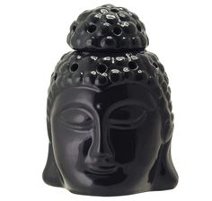 """Wholesale Ceramic 6"""" Buddha Essential Oil Diffuser - Bulk Buy Black Tealight Aromatherapy Wax Melt / Tart Warmer with Cap - Essential Home Decor Fragrance Accessories from India"""