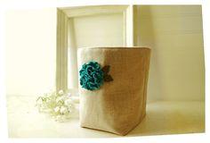 box linen peacock Blue Hydrangea flower Box Wool felt by hoganfe