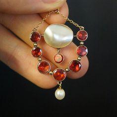 Georgian garnet & pearl pendant. Now online. | CJAntiquesLtd.com |