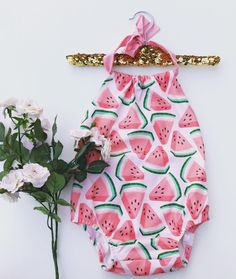 Watermelon sunsuit/bow headband/watermelon romper/baby birthday outfit/summer romper/first birthday outfit/baby photo prop/baby gift by PinkBowDesigns on Etsy https://www.etsy.com/listing/292446077/watermelon-sunsuitbow-headbandwatermelon