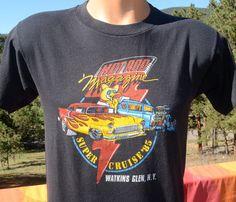 vintage 80s t-shirt HOT ROD magazine car cruise 85 black tee