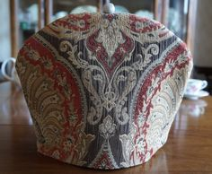 Shabby Chic Elegant Rust, Beige and Brown Textured Upholstry Fabric Insulating Fabric Tea Cosy / Cozy with Custom Polymer Clay Bead Pull Top $50.00 CAD