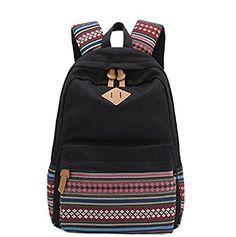 397a40119ad6 Amazon.com  Black Canvas School Bag Backpack Girls