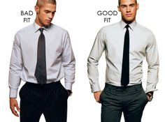 How your shirt should really look. Bad fit vs. good fit. Ditch the parachute shirts.