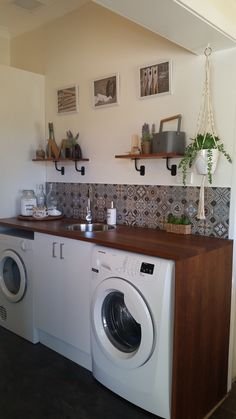 My new Laundry A simple paint and add new cupboards/bench top turned into a full renovation of the r Modern Laundry Rooms, Laundry Room Design, Rubber Flooring, Vinyl Flooring, Bunnings Laundry, Beaumont Tiles, Painting Tile Floors, Laundry Room Inspiration, Diy Bench