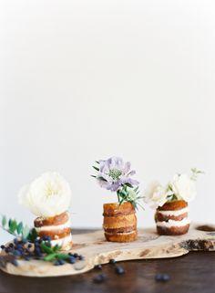 mini naked wedding cakes flowers berries -- by pylon cake