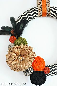 Chevron and Posie Fall Wreath
