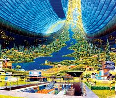 "themoviedoc: "" Did you know that Elysium is actually based on early 60's designs of space gardens made for the NASA? The one on top was made by Syd Mead, who also worked on Elysium. """