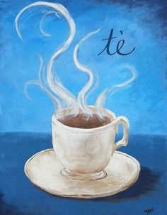 Tea Cup - 11x14 Custom Original Kitchen painting on canvas -for bistro, cafe…