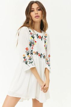 Product Name:Floral Embroidered Mini Dress, Category:dress, Forever 21 Outfits, Forever 21 Dresses, Ootd Fashion, Spring Fashion, Fashion Outfits, Comfortable Clothes, Figure Poses, Forever21, Wardrobes