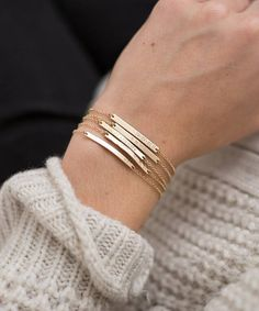 Bar Bracelet Personalized, Gold, Silver, Rose Gold / Small Skinny Bracelet - Dainty, Minimal Stacking Bracelet, Layered and Long • LB130_30 Layered Bracelets, Silver Bracelets, Silver Earrings, Layering Necklaces, Trendy Bracelets, Dainty Bracelets, Gold Bangles, Silver Ring, Rose Gold Jewelry