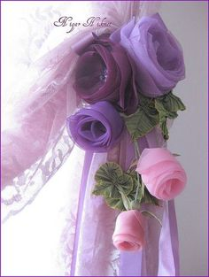 TULLE rose spray as curtain tie back purple and ping