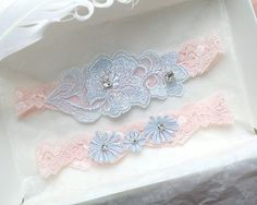 Romantic Baby Pink Garter Set ,Something Blue Lace Rhinestone Bridal Wedding Garter Belt Prom Honeymoon Lolia Ballet