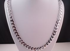 "MENS ITALY 925 SOLID STERLING SILVER DIAMOND CUT FLAT CURB LINK CHAIN  24"" #AuthenticItalianTopQualityCraftsmanship #Chain"