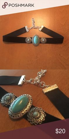 "HOST PICK 10/22/16 Hand Made Chocker Necklace Brand new! It is one of a kind! I made it myself :) it's adjustable so one size fits most. Turquoise and velvet. Length of choker is 11 1/2"" length with chain is 13 3/4"" Chelllssseaaa Jewelry Necklaces"