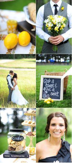 Yellow, black, grey [Waskesui Lodge Wedding by Emma Love Photography]
