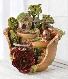Fairy Garden Broken Pot - idea from Joann Fabrics