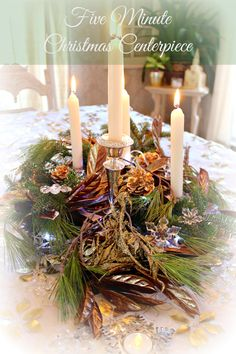 Create a beautiful last minute five minute Christmas centerpiece with items from around the house to set off your dining room table.