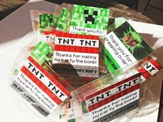 TNT Minecraft Birthday Theme Favor Tags- Printable File Tnt Minecraft, Minecraft Birthday Party, Minecraft Crafts, Minecraft Skins, Minecraft Buildings, 9th Birthday Parties, 12th Birthday, Birthday Favors, Boy Birthday