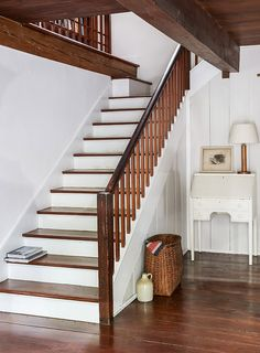 Country staircase in Cape Cod home