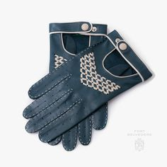 Driving Gloves in Petrol Blue & Sand Nappa Leather Handmade & Unlined for the man who wants to drive his car in style by Fort Belvedere. Gentleman's Wardrobe, High End Products, Best Tyres, Driving Gloves, Thick Leather, Classic Man, Yarn Colors, Leather Gloves, Stylish Men