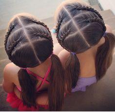 Four diagonal dutch braids into pigtails