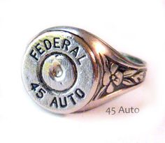 Federal Bullet casing Ring 45 Auto Shotgun Bullet Jewelry oak leaf ring adjustable from lizzybleu on Etsy Ammo Jewelry, Bullet Jewelry, Metal Jewelry, Jewelry Crafts, Jewelery, Jewelry Accessories, Unique Jewelry, Country Girl Style, My Style