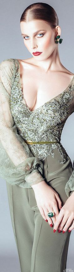 Alfazairy Couture F/W Women's Dresses, Formal Dresses, Green Fashion, Fashion Colours, Couture 2015, Couture Fashion, Glamour, Online Fashion Magazines, Look Chic
