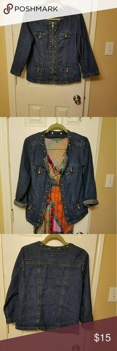Studded blue jean jacket zip front Jean jacket with studs around the front and collar perfectly pair with jeans, maxi dress or khakis, still in very good condition. Westbound  Jackets & Coats Jean Jackets
