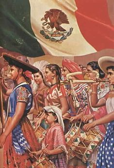 Women and Flag Mexico Mexican Artwork, Mexican Paintings, Mexican Folk Art, Mexican Style, Chicano Love, Chicano Art, Mexican American, Jorge Gonzalez, Mexican Flags