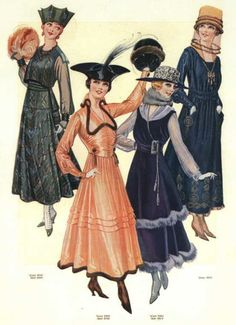 Walking and day dresses, 1916 US, The Delineator