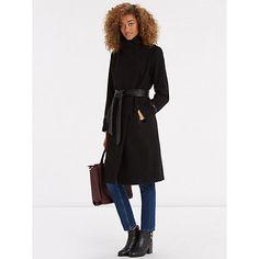 Buy Oasis Bea PU Detail Long Coat, Black Online at johnlewis.com