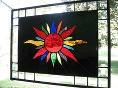 Blazing Sun Stained Glass Window Panel by loveofstainedglass,