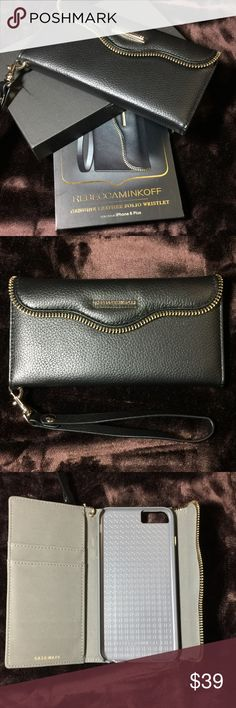 Rebecca Minkoff Leather Wristlet for iPhone 6 Plus NWT RM Casemate This chic genuine leather wristlet carries your daily essentials all in one place, and features Rebecca's signature M.A.B. flap design and zipper detailing. Ideal for when you don't feel like carrying a handbag, this chic folio does it all.  Genuine leather with microsuede interior Holds 2 credit or ID cards Integrated stand Removable wristlet strap Rebecca Minkoff Accessories Phone Cases