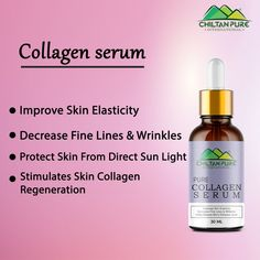 Improves Skin Elasticity Decreases Fine Lines & Wrinkles Helps Balance The Skin's Moisture Level This Serum Stimulates The Skin's Collagen Regeneration Protect Skin From Direct Sun Light #ChiltanPure #organic #purity #skincare #serum Collagen Serum, Skin Line, Skin Elasticity, Moisturizer, Sun Light, Pure Products, Skincare, Organic, Moisturiser