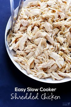A simple tutorial for how to make easy slow cooker shredded chicken. This chicken is so delicious, and only takes minutes to prep and shred!! | gimmesomeoven.com