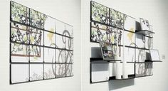 What an amazing and innovative concept. Fold out mural not only functions has a piece of art, but also shelves