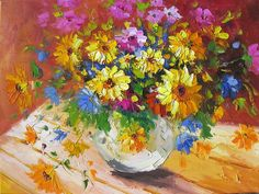 Flowers Energy 18 x 24 Original Oil Painting Palette Knife Colorful Yellow Orange Blue Vase Bouquet Pink Flowers Lilies by Marchella