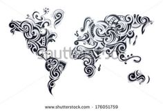 World map tattoo. Our Earth as one tribe concept illustration. by AKV, via Shutterstock