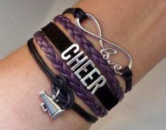 Cheer bracelet, Cheerleader gifts, Team gifts, Team sports, infinity love bracelet, megaphone charm Purple and black color, friendship gift