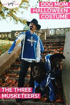 Need ideas for a Halloween Family Costume With Dogs? This Three Musketeers costume is perfect for a dog mom with two fur babies! Family Costumes, Family Halloween Costumes, Group Costumes, Cool Costumes, Costume Ideas, Musketeer Costume, Mustache And Goatee, Me And My Dog, The Three Musketeers