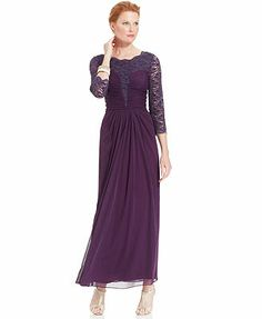 Alex Evenings Three-Quarter-Sleeve Glitter Lace Gown - Macy's  - The plum color and cut of this dress is very pretty