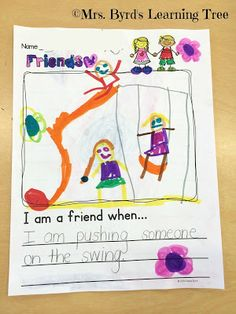 Grab this friendship FREEBIE and share the love with the (Mrs. Preschool Journals, Kindergarten Writing Prompts, Kindergarten Freebies, Preschool Lessons, Kindergarten Activities, Friendship Lessons, Friendship Art, Kindness Activities, Friend Activities