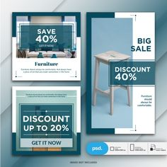 Banner Template, Layout Template, Templates, Social Media Ad, Social Media Banner, Company Brochure, Brochure Design, Furniture Sale, Furniture Ideas